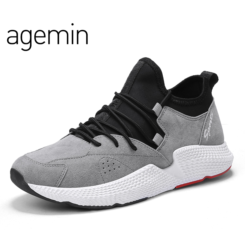 Agemin Sommer Breathable Fashion Men Pig Wildleder Casual Lederschuhe - Herrenschuhe
