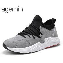 Agemin Sommar Andas Män Män Pig Suede Casual Leather Shoes Men Lace Up Shoes Gris Läderskor Mens Walking Shoes