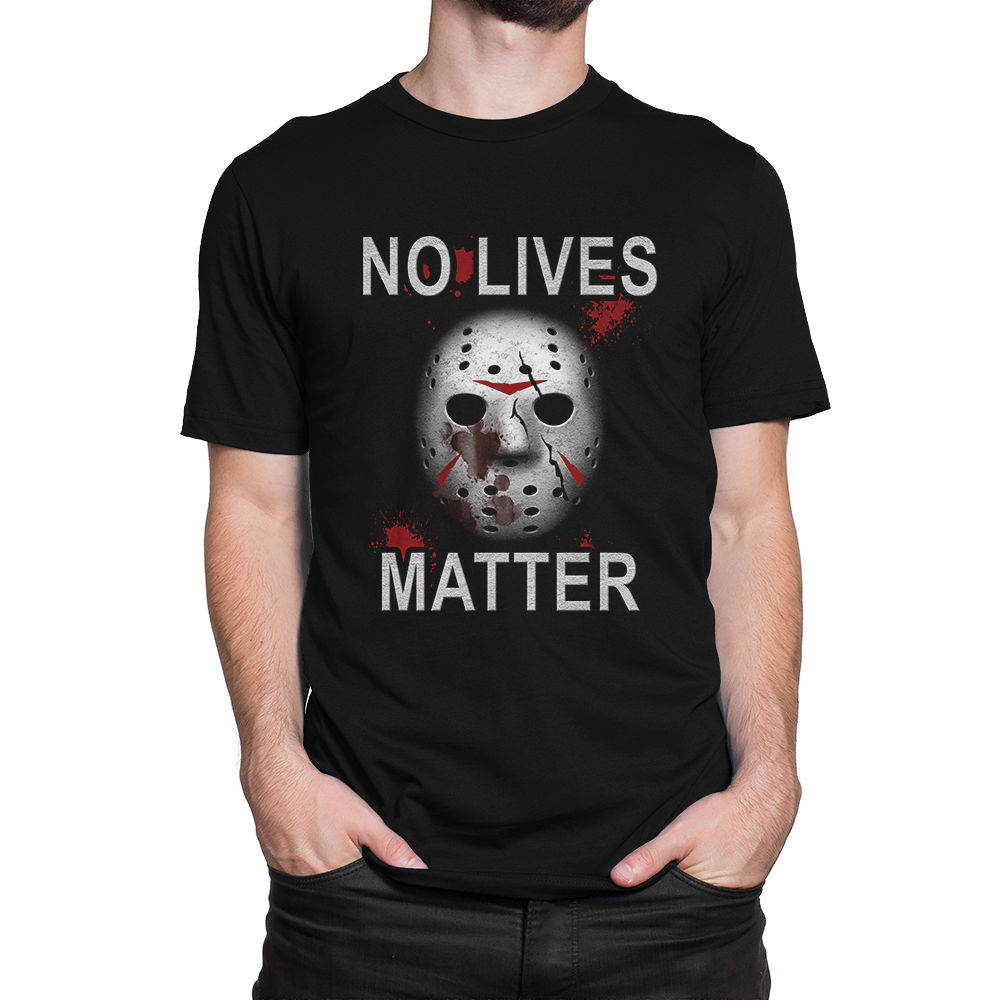 Summer Funny Friday The 13th No Lives Matter Halloween T-shirt Hip Hop Black Print Short Sleeve Cotton Shirts for men