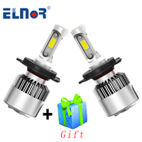 ELNOR H4 LED H7 H11 H8 H9 H1 9006 HB4 Car Headlight COB Auto Lamp 6500K