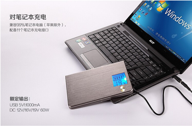 Lcd Portable Power Bank 20000 Mah Laptop Tablet Pc