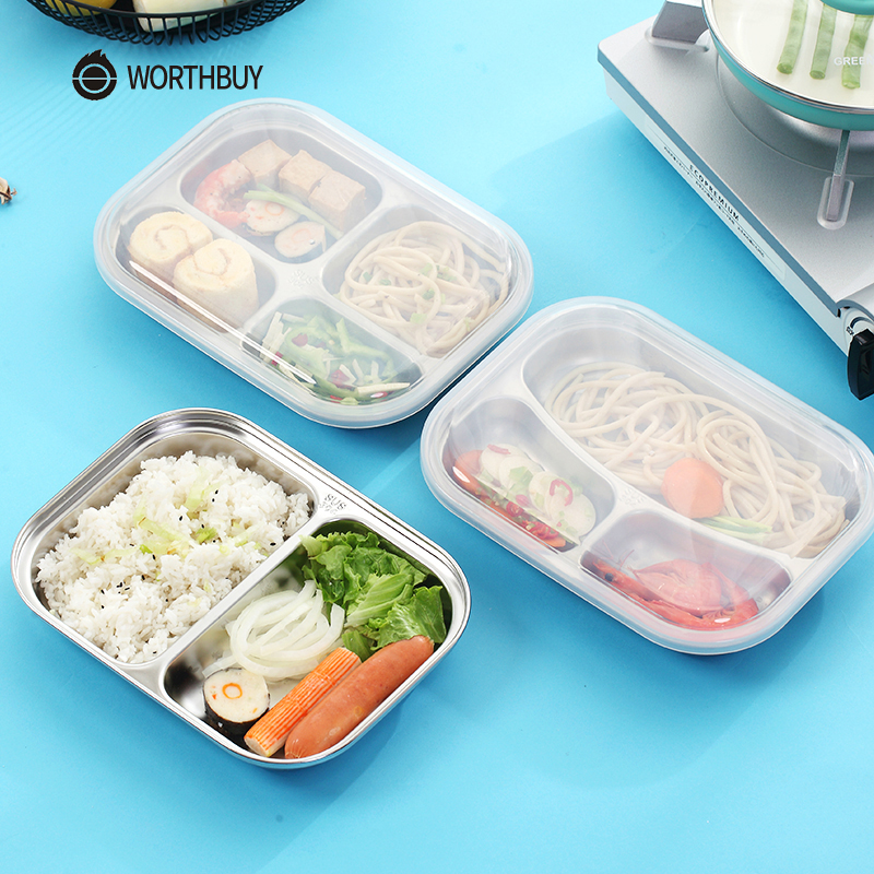 WORTHBUY Japanese Bento Box 304 Stainless Steel Metal Lunch Box With Compartments Kids Food Container Box For School Picnic Set