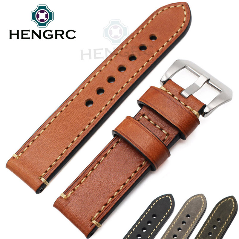 Genuine Leather Watchband Bracelet 24mm 22mm 20mm Thick Watch Strap Belt With Metal Steel Buckle Watch