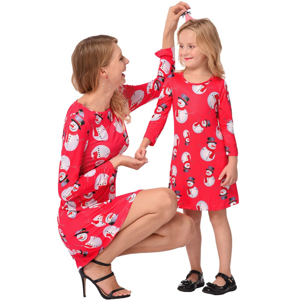 Mom Daughter Christmas Dress Family Matching Outfits Mother Daughter Long-sleeved Dresses Autumn Winter Children Clothing mother and daughter clothes short sleeved t shirt dresses family matching outfits baby girl clothes girls clothing long dress