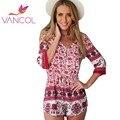 Vancol цветочный принт Jumsuit шорты 2016 лето сексуальный v-образным вырезом половина рукава частей одежды Большой размер комбинезон красный спецодежда для женщин