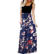 2019 summer boho beach tunic casual maxi dress plus size 3xl long vestidos sleeveless Floral print vintage women slim clothes