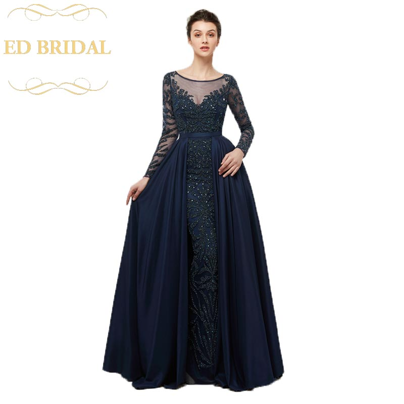 Sheer Long Sleeves Navy Blue Heavy Beaded Taffeta Long Mermaid ...