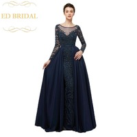 Sheer Long Sleeves Navy Blue Heavy Beaded Taffeta Long Mermaid Evening Dress Formal Party Gown Prom Dress robe longue