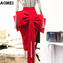 AOMEI Women Pencil Skirt Front Big Bow Tie High Waist Split Slim Female Package Hip