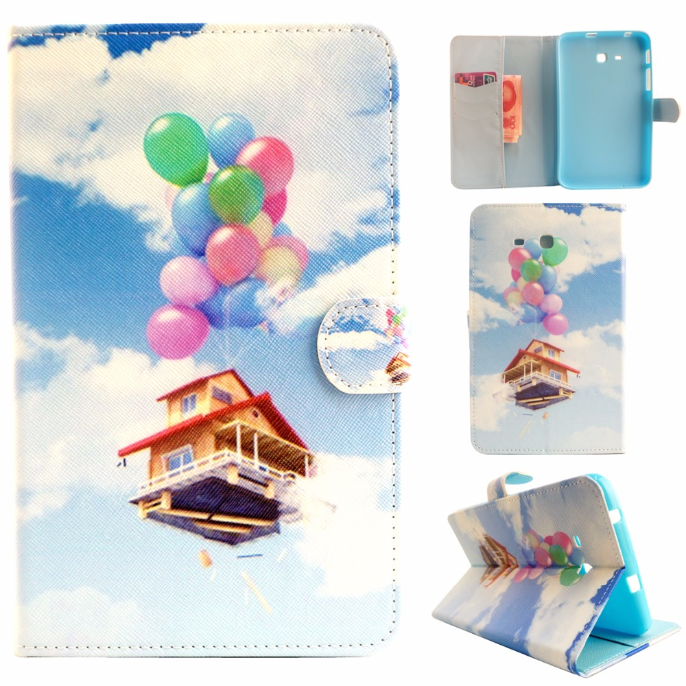 Tablet Painted PU Leather Cases For Samsung Galaxy Tab 3 Lite 7.0 T110 T111 T113 T116 Cover Housing Accessories Stand Bag Shield