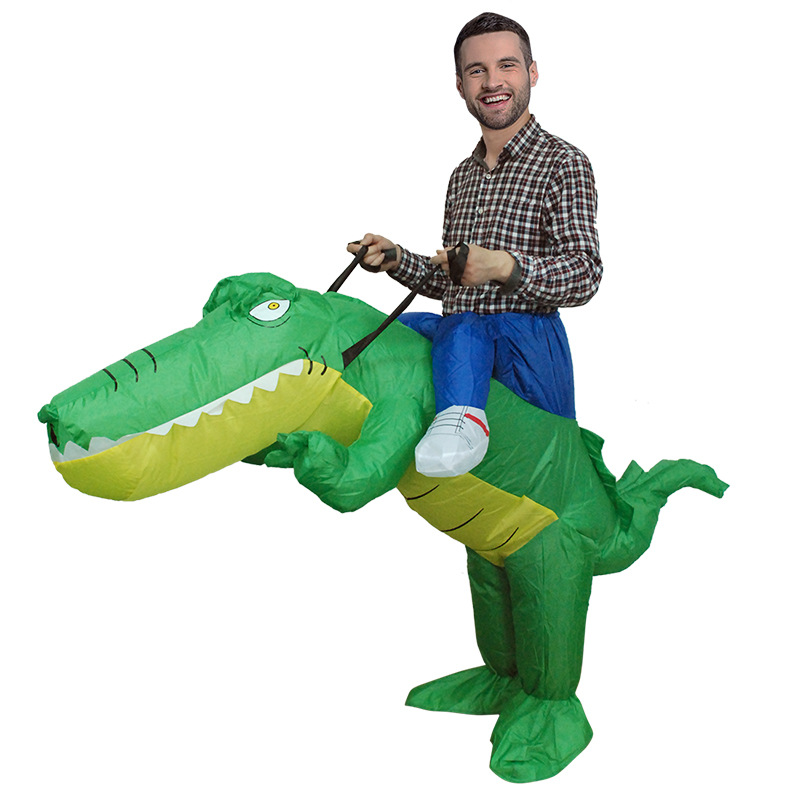Adult Crocodile Rider Inflatable Unisex Christmas Halloween Party Cosplay Animal Novelty Costume Fancy Dress