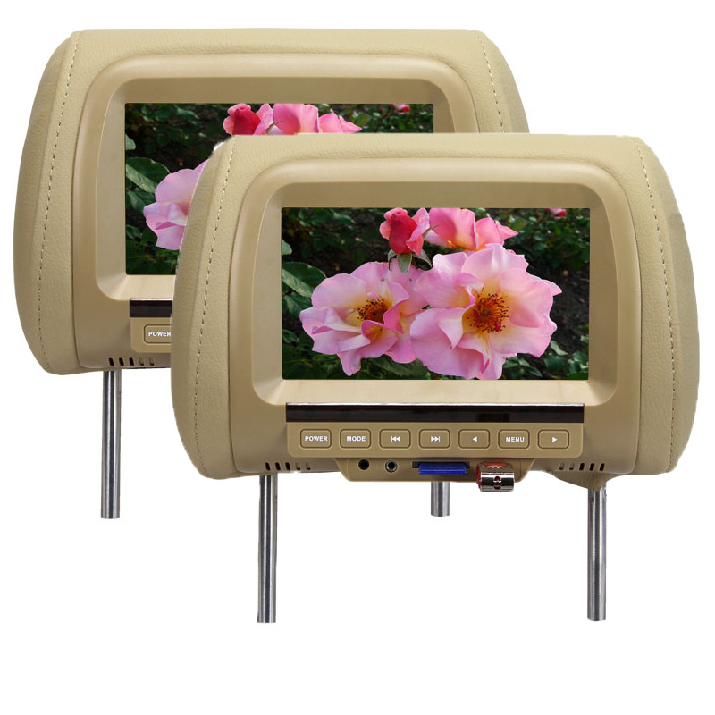 One pair 7 Inches MP5 Headrest Monitor Car Monitor TFT LED Digital Screen Player for Car Support SD Card,MP5, USB Card