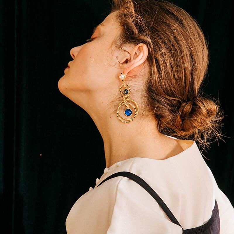 2019 Blue gem Jewelry Indian Earrings Geometric Circle Preal Dangle Earrings Gold Color Long Drop Earrings For Women