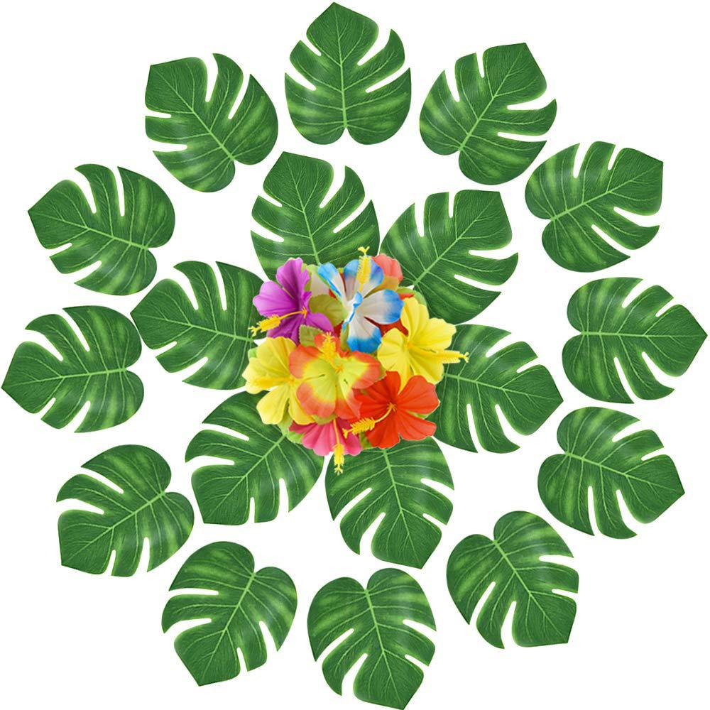 24pcs Artificial Tropical Palm Leaves Turtle Leaf Simulation Leaf for Hawaiian Party Jungle Beach DIY Party Christmas Decor New in Party DIY Decorations from Home Garden