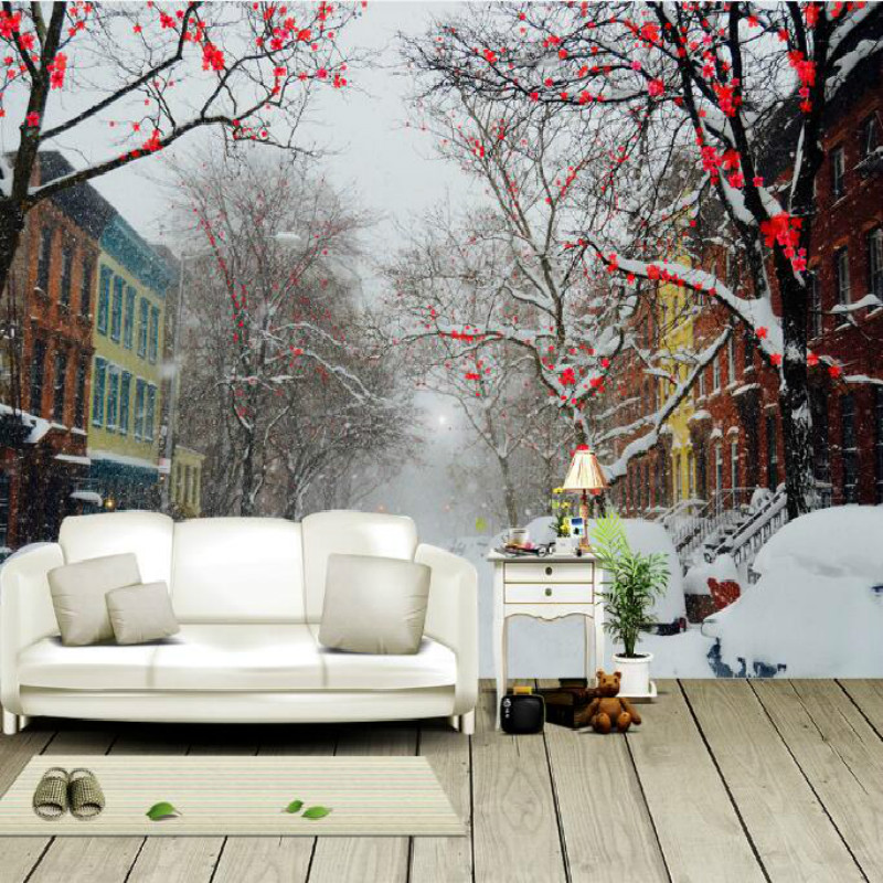 Cold winter plum snow street large murals 3D wallpaper living room bedroom 3D wallpaper painting TV background wall 3D wallpaper large mural living room bedroom sofa tv background 3d wallpaper 3d wallpaper wall painting romantic cherry