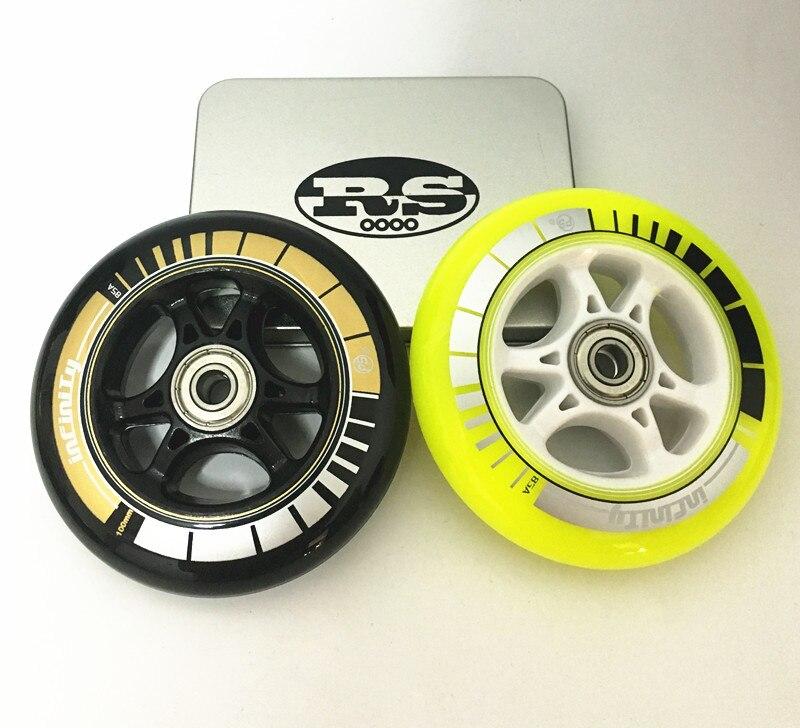 Prix pour 85A Inline vitesse de patinage wheels100MM Inline Skate Roues jaune noir couleur skate roue de patinage roulements