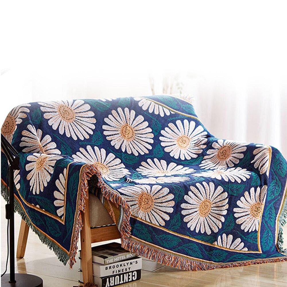 ESSIE HOME couverture florale pour canapé salon chambre tapis canapé Daisy couverture à l'ancienne couverture tapis bleu couverture tapisserie B-in Tapis from Maison & Animalerie    1