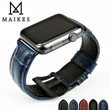 MAIKES Brown genuine leather bracelet for Apple Watch 42mm 38mm