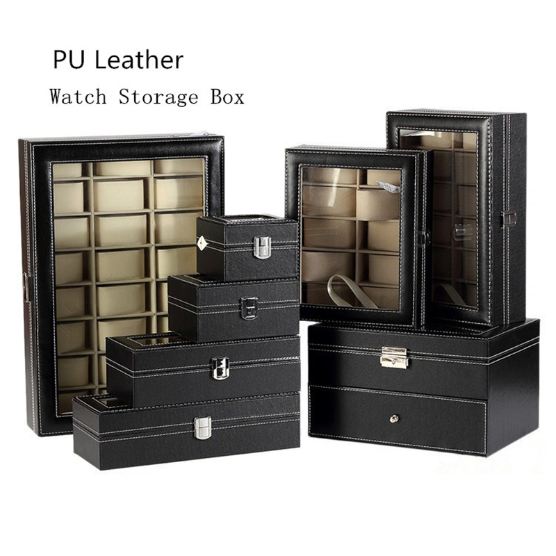Leather Watch Box Black Men's Watch Storage Boxes Case With Window Jewelry Women Gift Case Fashion Display Jewelry Gift Holder