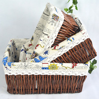 A Wicker Basket Desktop Storage Basket Woven Basket Living Room Bedroom Toy Collection Debris Storage X913