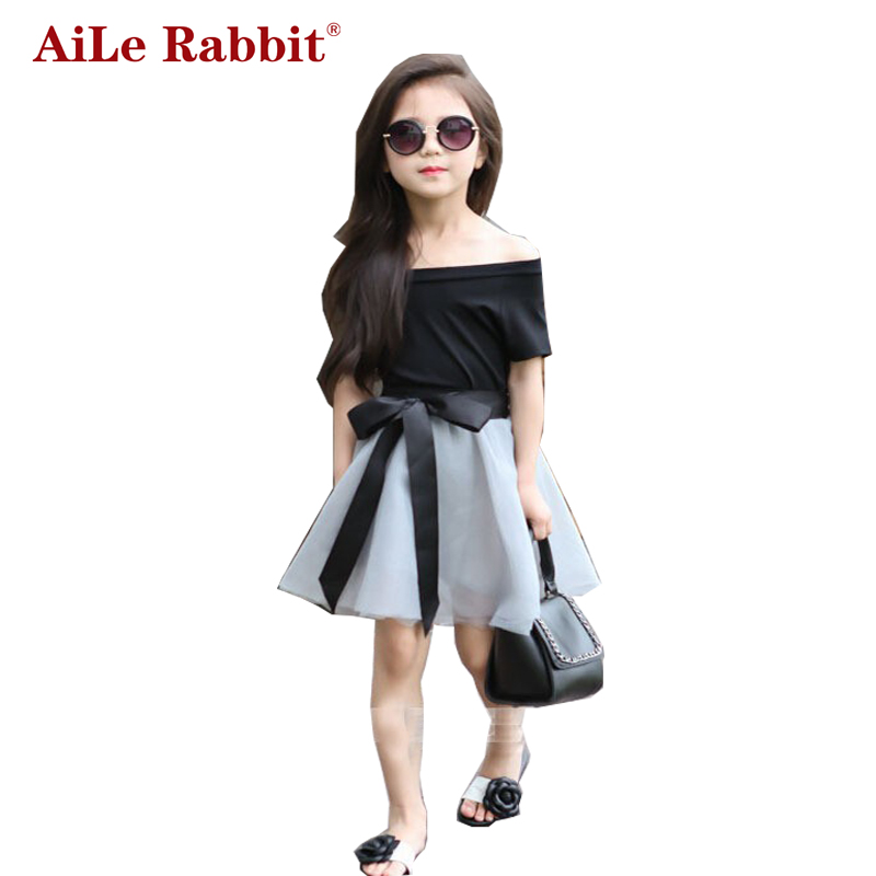 купить AiLe Rabbit New Summer Fashion Short Sleeve Off Shoulder Black T Shirt+Mesh Skirt with Ribbons Elegant Girls Clothing Set Dress недорого