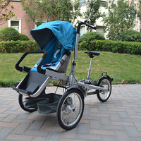 2017 Hot Sell Baby and Mommy Bike Trolley 3 wheel Baby Boy Girls Pushchair Strollers Kids Foldable Strollers 2 in 1 Prams blue**