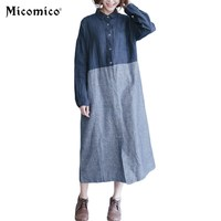 Solid Casual Cotton Linen Dress Long Sleeve Turn Down Collar Plus Size Vintage Davy Blue Dress