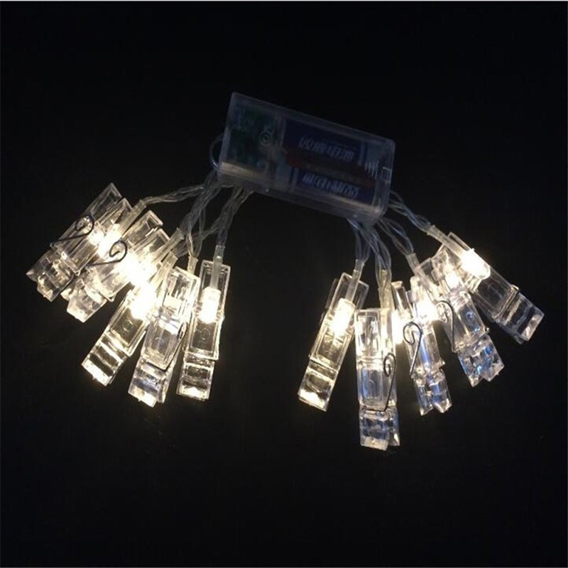 1.2M 10 LED Card Photo Clip String Lights 2xAA Battery Party Wedding Home Decoration MF999