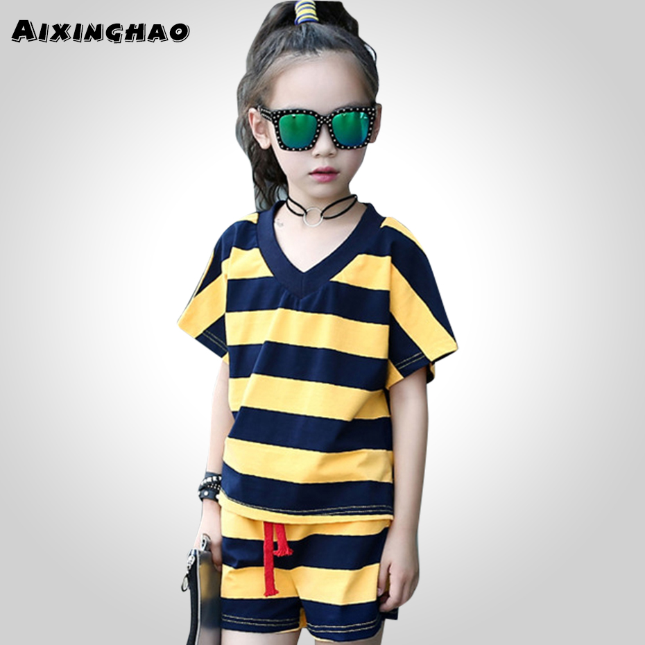 Aixinghao Teenage Girls Clothing 2018 Summer Childrens Sports Suits Striped Shirt + Short Clothes For Girls 6 8 10 12 14 Year