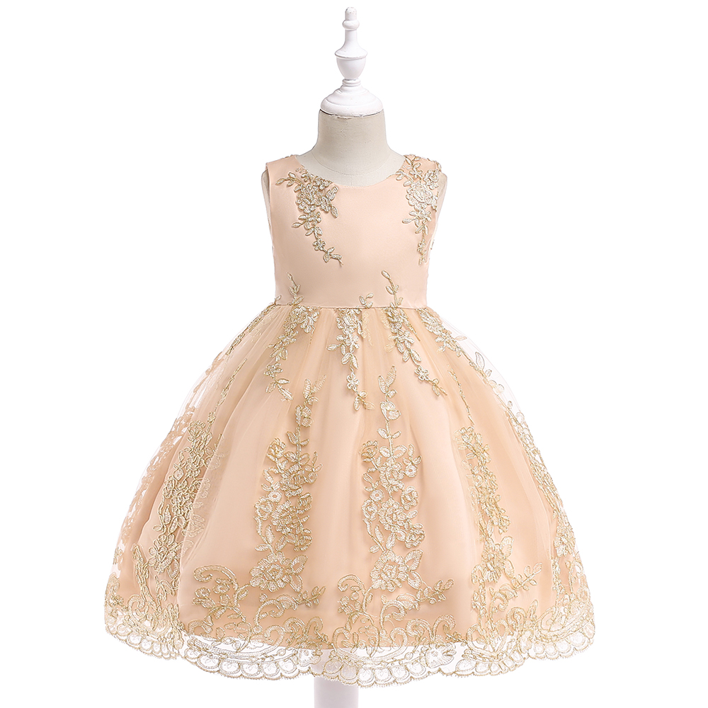 Retail New Arrival   Girl   Princess   Dresses   Children   Girl   Exquisite Embroidery Champagne Party   Dress   For   Flower     Girl     Dress   L9028