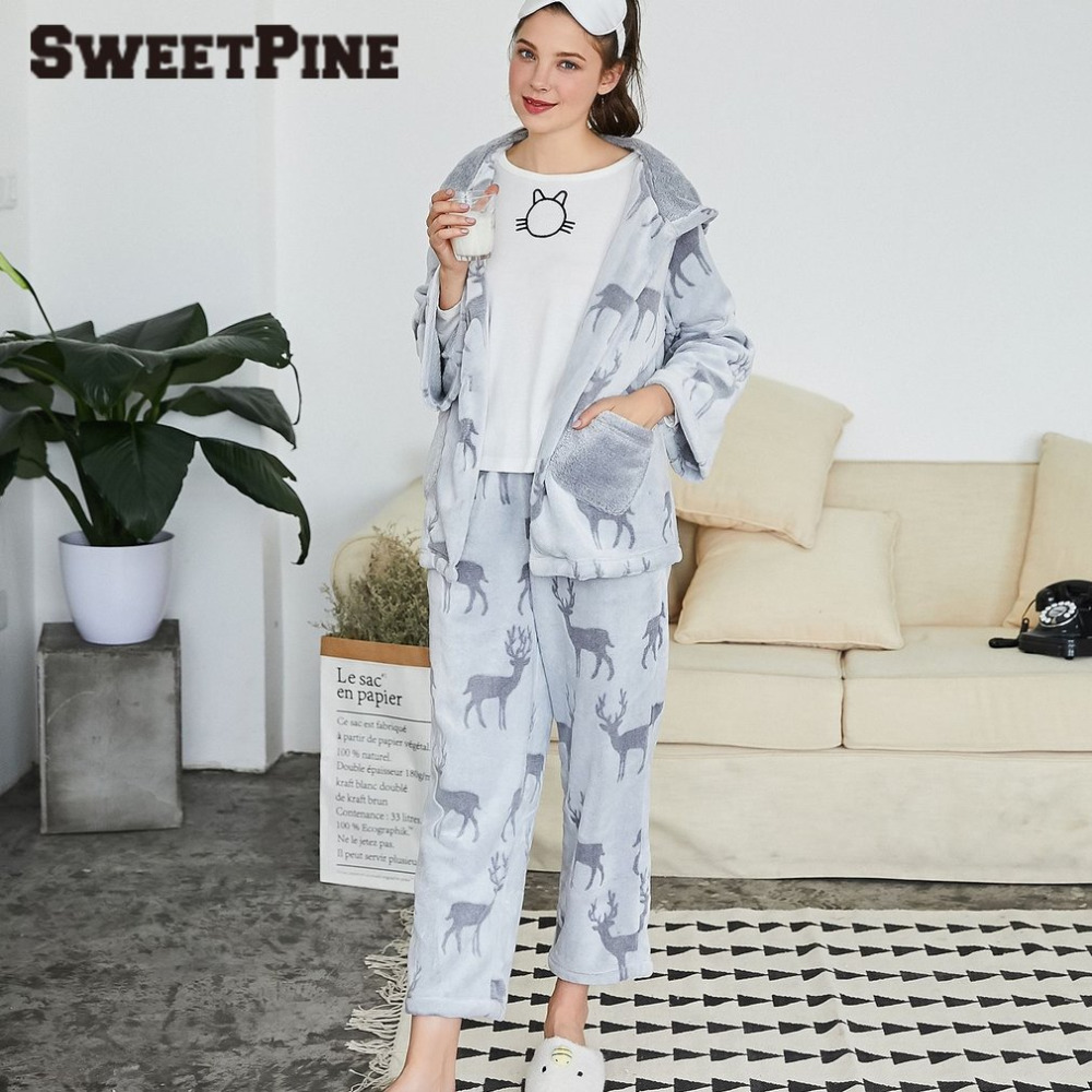 SWEETPINE Nightwear Pajamas Set Women Hooded Sleepwear 2 Pieces Grey Tops & Long Pants Floral Deer Print Chirstmas Home Clothes