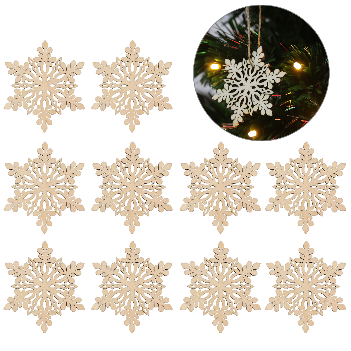 10pcs Sharp Hexagonal Wooden Snowflake Hanging Ornament Decoration Pendants With String Wood Color Party Diy Decorations Aliexpress