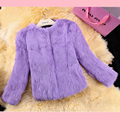 Fashion whole skin short rabbit fur coat female cotton slim real rabbit fur jacket