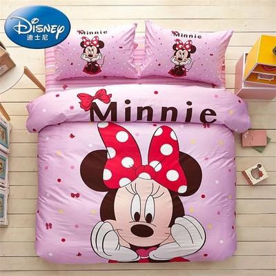 Bedding set Disney Cartoon Cotton 3pcs Family set Include Bed(Sheet+Duvet Cover+Pillowcase)Student GirlRoom Decoration Bedspread