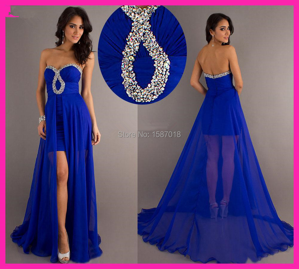 New Beading Royal Blue Long Two IN One Prom