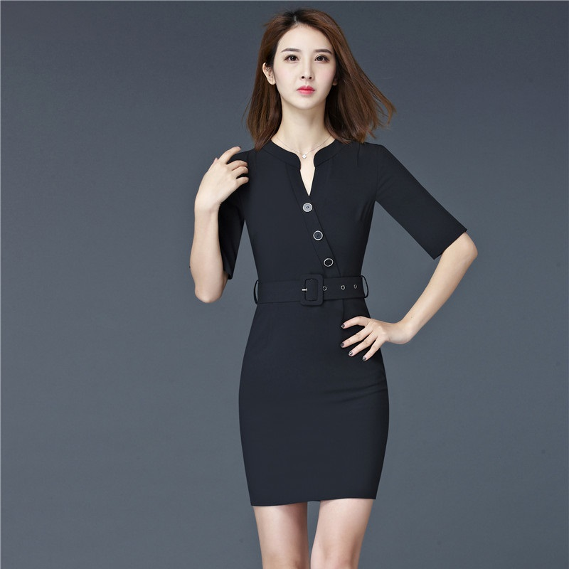 d7a16881a29 Fashion Women Summer Dresses Short Sleeve Formal Ladies Black Dress Work  Wear Office Uniform Styles-in Dresses from Women s Clothing on  Aliexpress.com ...