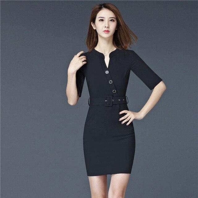 bbd03255fe Moda kobiety letnie sukienki z krótkim rękawem formalne damska czarna  sukienka urząd pracy Wear jednolite style