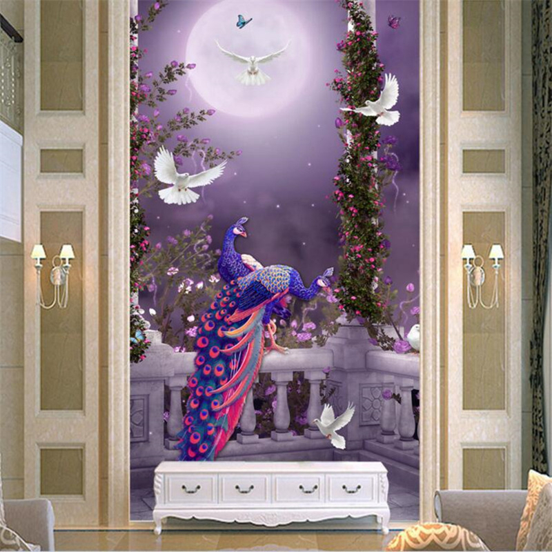 3D Wall Murals Forest Photo Wallpaper 3D Peacock Wall Mural for Living Room Bedroom Hotel Home Decor Wall Sticker 3D Wall Murlal picture of mermaid pattern home appliances decoration 3d wall sticker