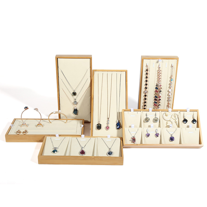 New Fashion Bamboo Wood Jewelry Display Tray Pendant Necklace Earrings Ring Tray Nature Jewellery Tray
