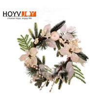 HOYVJOY White christmas wreath Thanksgiving Day Artifical Garland Fake Barries 50cm White Flowers Simulation