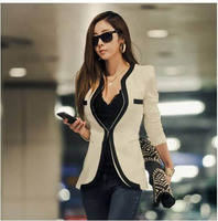 Mr.Nut Women's Jacket Korean Version Of Black And White Striped Color Matching Slim Suit Women