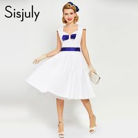 Sisjuly 1950s Women Vintage Midi Dress Fashion Blue Bow Jurken Retro Summer Bow Belts Sleeveless Elegant