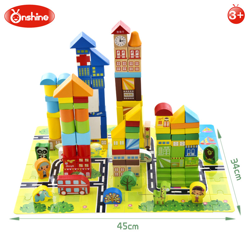 Onshine Colorful Wooden City Building Blocks Kids Toy Multi-player Game Animal Beech Wood Hospital Resturant Block Children Toys wooden toys for children colorful building blocks tree marble ball run track baby kids game wood toy brinquedos