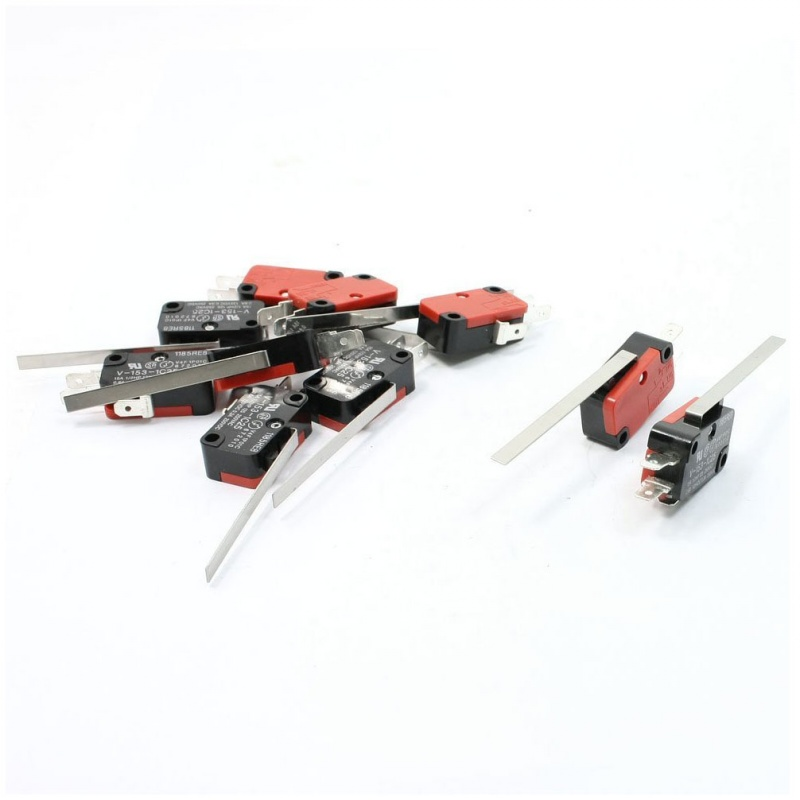 10 x End Racing Hinge Lever Long Straight Arm Snap Action Microswitch Red + Black 10pcs long straight hinge lever spdt micro limit switch v 153 1c25