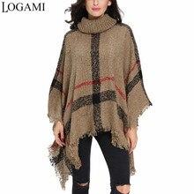 Poncho estilo abrigo Otoño Invierno Poncho tejido mujer largo Ponchos y  capas suéter de cuello alto jerseys 7b320bc90824