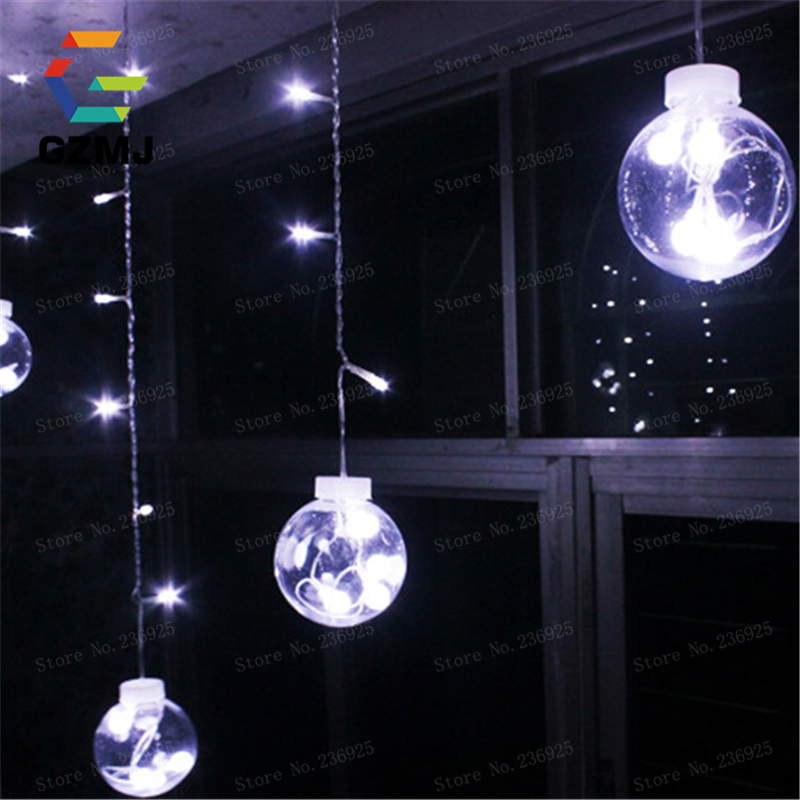 ФОТО Transparent Globes Ball Colorful LED String Lights Curtain Indoor Decorations Holiday Twinkle Display Window Fairy Lights H-31