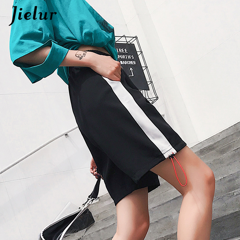 Jielur Summer Shorts Hipster Pantalones Sexy Women Chic Harajuku Striped Drawstring Damskie