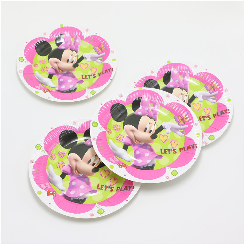 10pcs/lot Cartoon White Minnie children 7inch kids birthday party paper plate printing round plates Party Supplies-in Disposable Party Tableware from Home ... & 10pcs/lot Cartoon White Minnie children 7inch kids birthday party ...