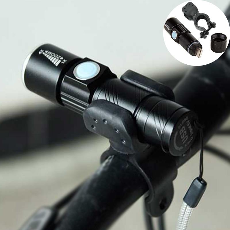 luz da bicicleta 2000 lumen zoomable recarregavel usb luz da bicicleta focalizavel lanterna led torch bateria