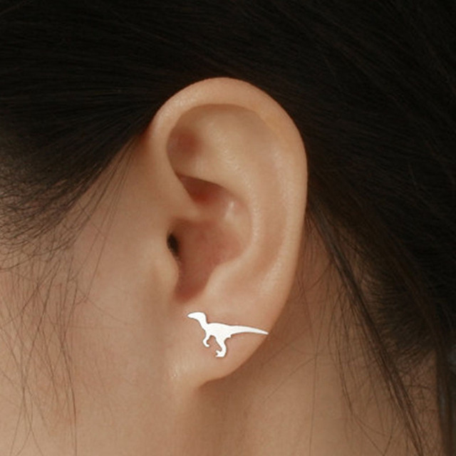 Cute Female Stainless Steel Silver color Golden dinosaur Stud Earrings Fashion Mini Stud Earring For Girls Minimalist Jewelry